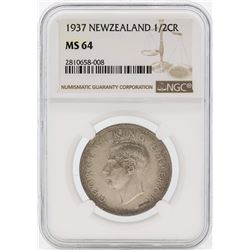 1937 Newzealand 1/2 Crown Silver Coin NGC MS64