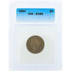 1884 Liberty Head Nickel Coin ICG AU58