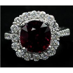 14KT White Gold 5.30 ctw Cushion Cut Rhodolite and Diamond Wedding Ring