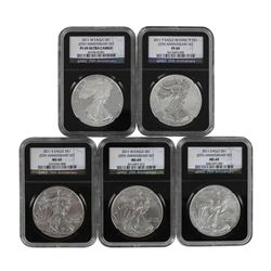2011 $1 American Silver Eagle (5) Coin Set NGC Graded