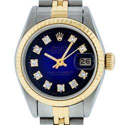 Rolex Ladies Two Tone Yellow Gold Blue Vignette VS Diamond Datejust Wristwatch