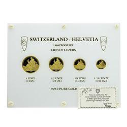 1988 Switzerland Helvetia Proof Gold Coin Set