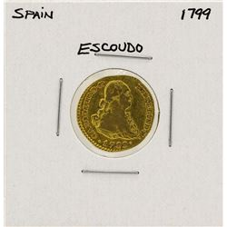 1799 Charles IV Spanish Escudo Gold Coin