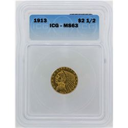 1913 $2 1/2 Indian Head Quarter Eagle Gold Coin ICG MS63