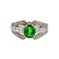 14KT White Gold 2.12 ctw Tsavorite and Diamond Ring