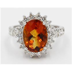14KT White Gold 4.25 ctw Oval Cut Citrine and Diamond Engagement Ring