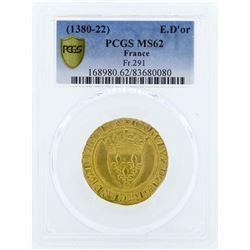 Charles VI (1380-1422) France Ecu d'or a la couronne Gold Coin PCGS MS62