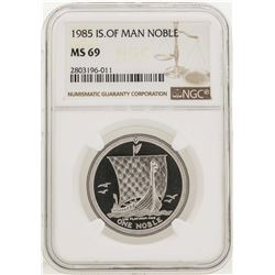 1985 Noble Isle of Man Platinum Coin NGC MS69