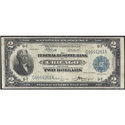 1918 $2 Battleship Federal Reserve Bank Note Chicago