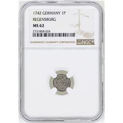 1742 Gemrnay Pfennig Regensburg Coin NGC MS62