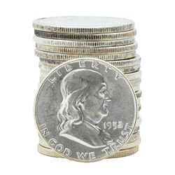 Roll of (20) 1952 Brilliant Uncirculated Franklin Half Dollar Coins