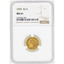 1929 $2 1/2 Indian Head Quarter Eagle Gold Coin NGC MS61