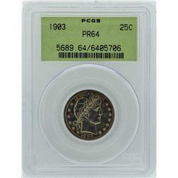 1903 Barber Silver Proof Quarter Coin PCGS PR64