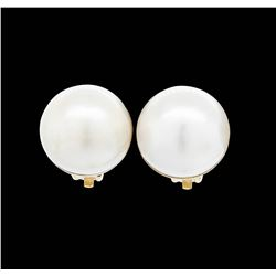 14KT Yellow Gold Mabe Pearl Clip Earrings