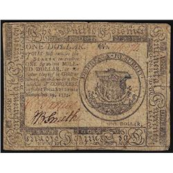 November 29, 1775 $1 Continental Currency Note