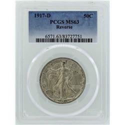 1917-D Walking Liberty Half Dollar Coin PCGS MS63 Reverse