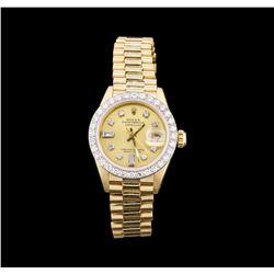 Ladies 18KT Yellow Gold Rolex Datejust Watch with Diamond Dial & Bezel