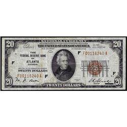 1929 $20 Federal Reserve Bank of Atlanta, Georgia Note
