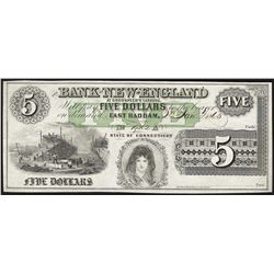 1865 $5 Bank of New England Obsolete Bank Note