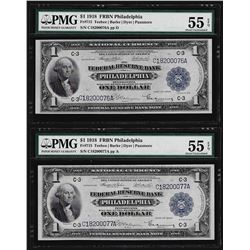 (2) Consecutive 1918 $1 Federal Reserve Bank Notes Philadelphia PMG About Unc. 5