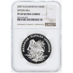 2007 Kazakhstan 500 Tenge Spoon Bill Silver Coin NGC PF69 Ultra Cameo