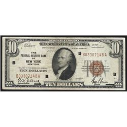 1929 $10 Federal Reserve Bank of New York Currency Note