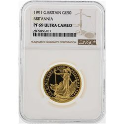 1994 Great Britain Britannia 50 Pounds Gold Silver Coin NGC PF69 Ultra Cameo