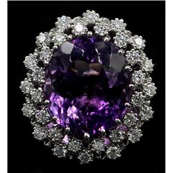 14KT White Gold 13.26 ctw Oval Cut Natural Amethyst Diamond Band Ring