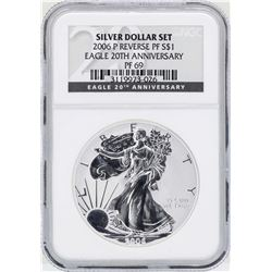 2006P $1 American Silver Eagle Coin Reverse Proof NGC PF69 20th Anniversary