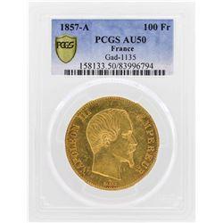 1857-A France 100 Francs Gold Coin Gad-1135 PCGS AU50