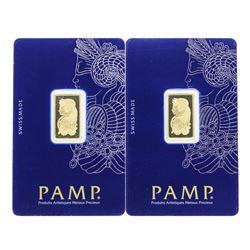 Lot of (2) 5 gram .9999 PAMP Suisse Fine Gold Ingot Bars