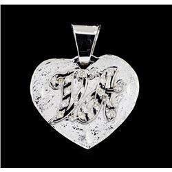 14KT White Gold 0.20 ctw Diamond Heart Shaped Pendant