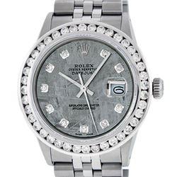 Rolex Mens Stainless Steel Meteorite 3.15 ctw. Diamond Datejust Wristwatch