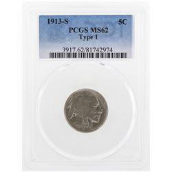 1913-S Buffalo Nickel Coin PCGS MS62 Type 1