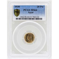 1930 Egypt 20 Piastres Gold Coin PCGS MS64