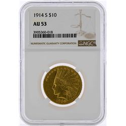 1914-S $10 Indian Head Eagle Gold Coin NGC AU53