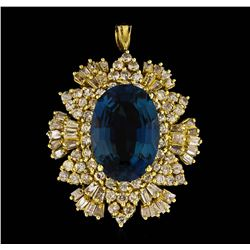 14KT Yellow Gold 12.64 ctw Blue Topaz and Diamond Pendant