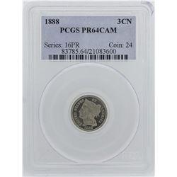 1888 Three Cent Nickel Proof Coin PCGS PR64CAM