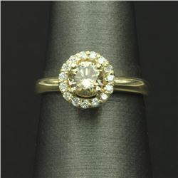 14KT Yellow Gold 0.90 ctw Natural Brilliant Round Cut Diamond Solitaire Engageme