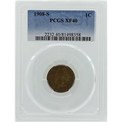 1908-S Indian Head Penny Coin PCGS XF40