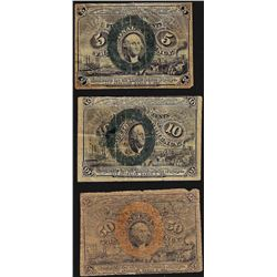 Lot of (3) Assorted Second Issue Fractional Currency Notes