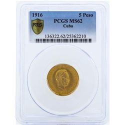 1916 Cuba 5 Pesos Gold Coin PCGS MS62