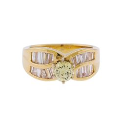 14KT Yellow Gold 1.50 ctw Fancy Light Yellow and White Diamond Engagement Ring
