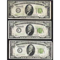 Lot of (3) 1928B $10 Federal Reserve Notes
