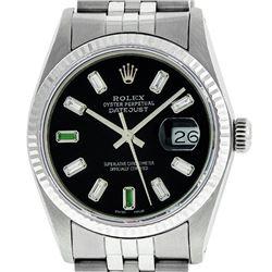 Rolex Mens 36mm Stainless Steel Black Diamond and Emerald  Datejust Wristwatch