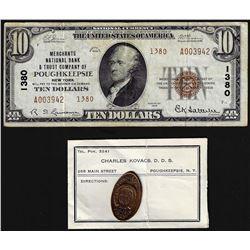 Set of 1929 $10 Poughkeepsie National Note & 1909 Poughkeepsie, NY Fireman Cent