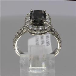 14KT White Gold 2.76 ctw Cushion Cut Fancy Brown Diamond Ring