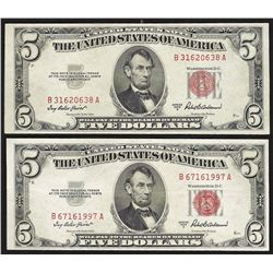 Lot of (2) 1953A $5 Legal Tender Notes