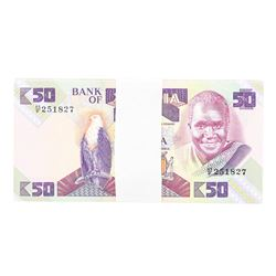 Pack of (100) Zambia 50 Kawacha Uncirculated Notes