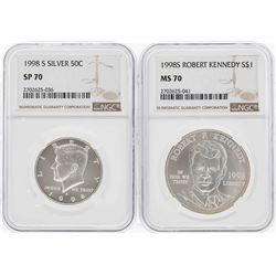 1998-S Kennedy Half Dollar NGC SP70 & 1998-S $1 Kennedy Silver Dollar NGC MS70